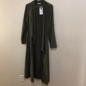 """NWT """" Just Fab"""" Army Green Waterfall Trenchcoat"""